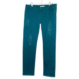 NWOT Emperial Teal Distressed Skinny Jeans Size 13